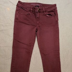 Maroon AE Cropped Jegging
